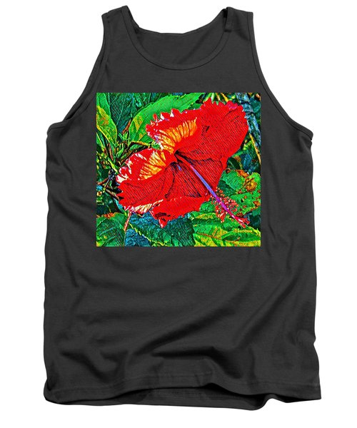 Red Hibiscus Aslant Tank Top