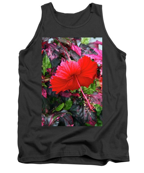 Red Hibiscus  Tank Top by Inspirational Photo Creations Audrey Woods