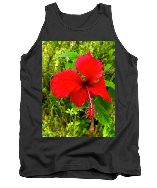 Red Hibiscus In Puna Tank Top