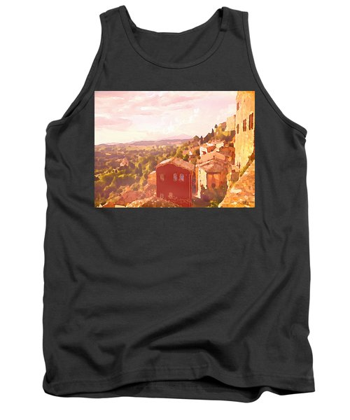 Tank Top featuring the digital art Red House On A Hill by Shelli Fitzpatrick