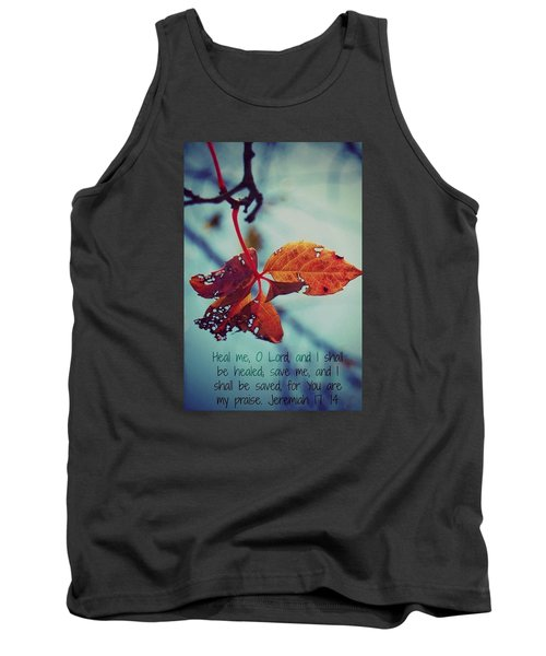 Tank Top featuring the photograph Red Leaf by Artists With Autism Inc