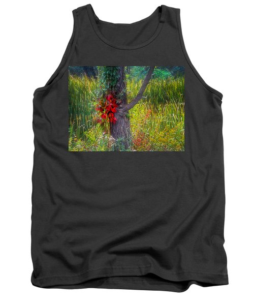 Red Leaves And Vines On Tree In Forest Of Reeds Tank Top by John Brink
