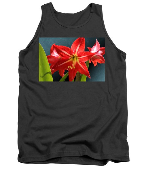 Red Lily Flower Trio Tank Top