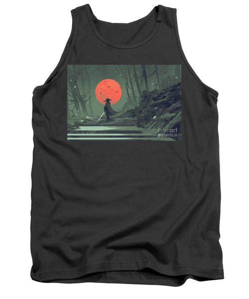 Tank Top featuring the painting Red Moon Night by Tithi Luadthong