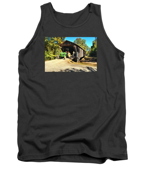 Red Oak Creek Covered Bridge And Tractor Tank Top by James Potts