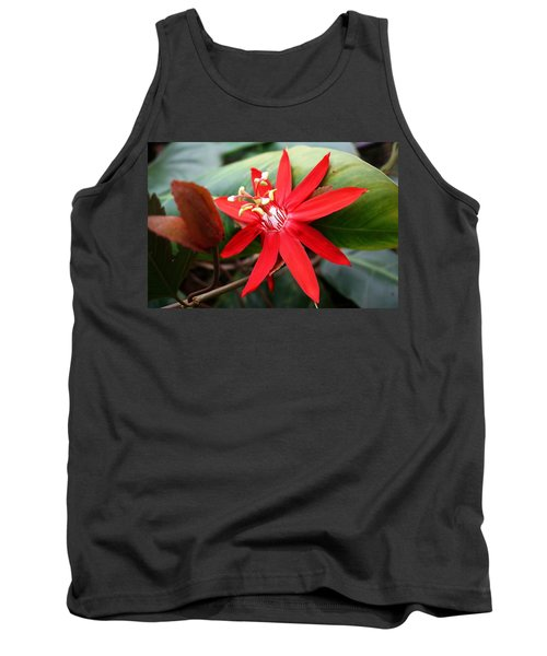 Red Passion Flower Tank Top