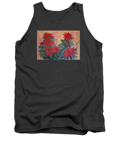 Red Poinsettias By George Wood Tank Top