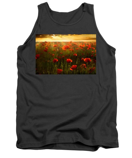 Tank Top featuring the digital art Red Poppies In The Sun by Shelli Fitzpatrick