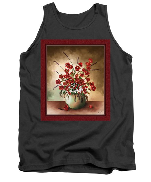 Tank Top featuring the digital art Red Poppies by Susan Kinney