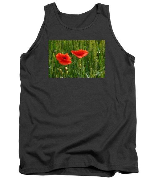 Red Poppy Flowers In Grassland 2 Tank Top