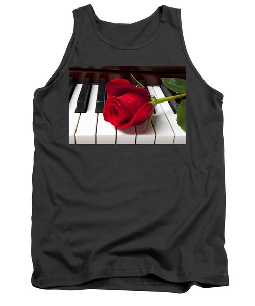 Red Rose On Piano Keys Tank Top
