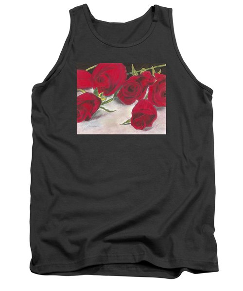 Tank Top featuring the drawing Red Rose Redux by Arlene Crafton