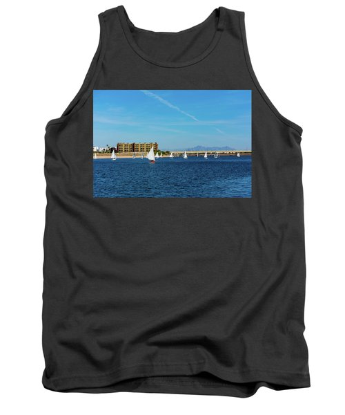 Red Sailboat In The Desert Tank Top