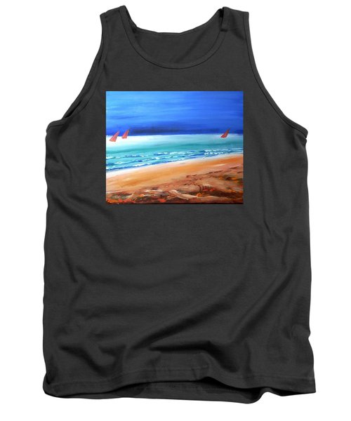 Tank Top featuring the painting Red Sails by Winsome Gunning