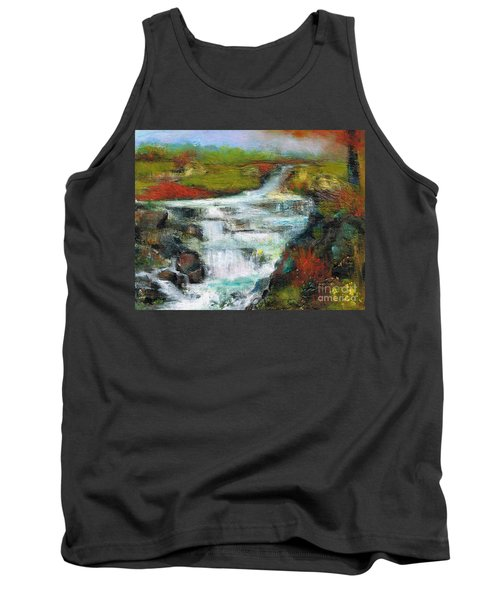 Yellow Fields With Red Sumac Tank Top by Frances Marino