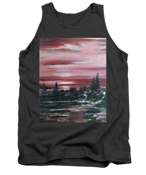 Tank Top featuring the painting Red Sun Set  by Laila Awad Jamaleldin