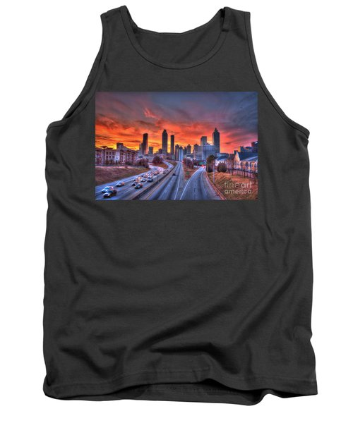 Red Sunset Atlanta Downtown Cityscape Tank Top