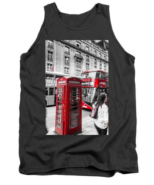Red Telephone Box With Red Bus In London Tank Top