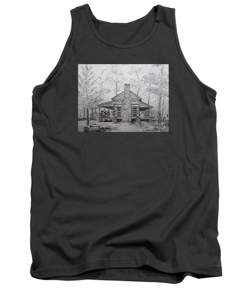 Red Top Mountain's Log Cabin Tank Top by Gretchen Allen