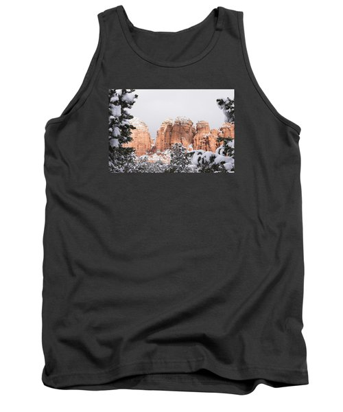 Red Towers Under Snow Tank Top by Laura Pratt