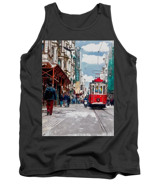 Tank Top featuring the digital art Red Tram by Kai Saarto