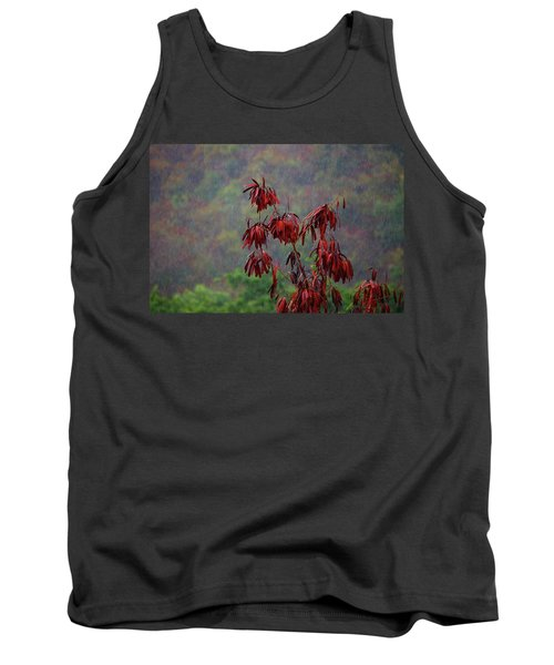 Red Tree In The Rain Tank Top