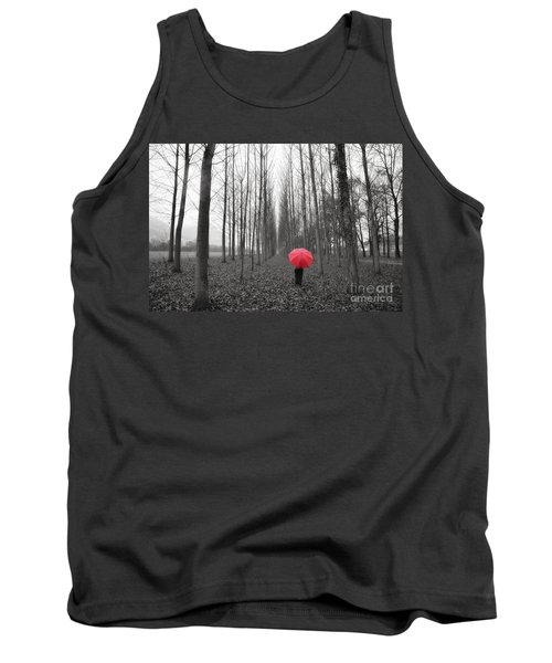 Red Umbrella In An Allee Tank Top