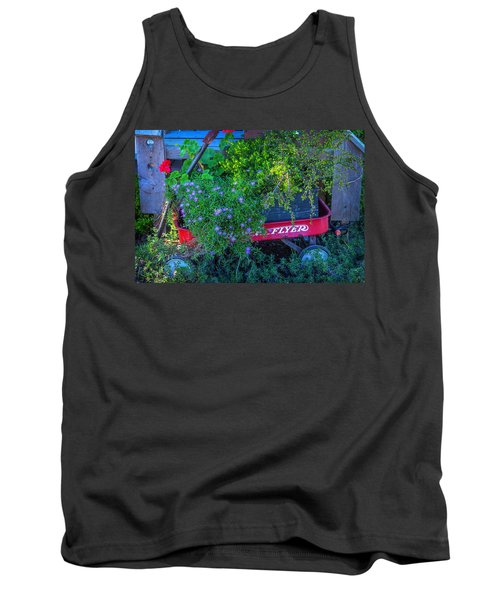 Red Wagon In The Garden Tank Top