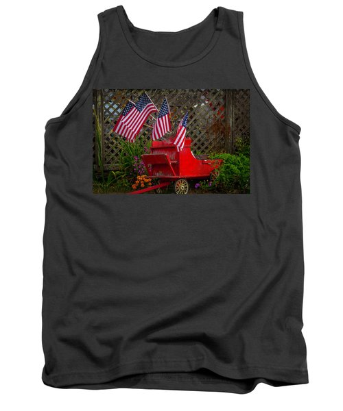 Red Wagon With Flags Tank Top