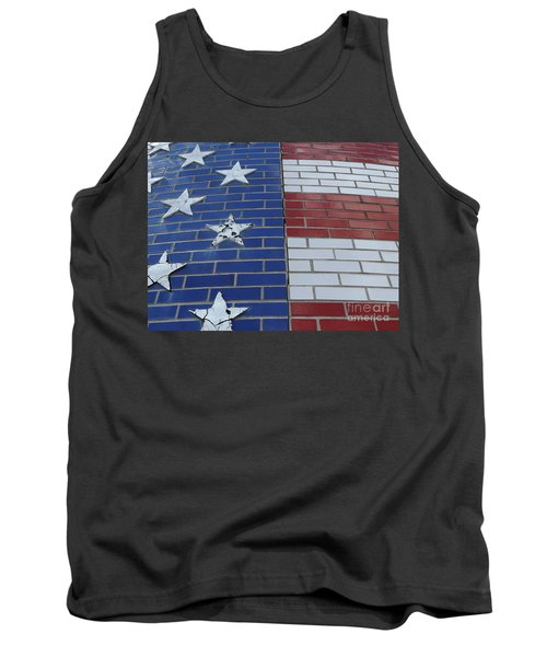 Red White And Blue On Brick Tank Top by Erick Schmidt