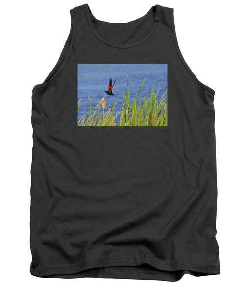 Red Wing Bow Tank Top by Shelly Gunderson