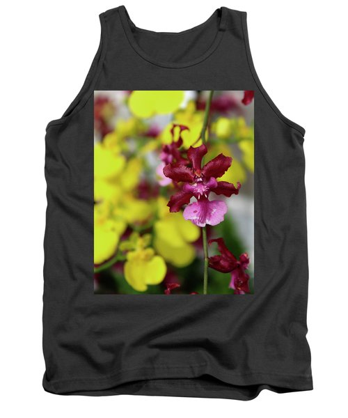Maroon And Yellow Orchid Tank Top
