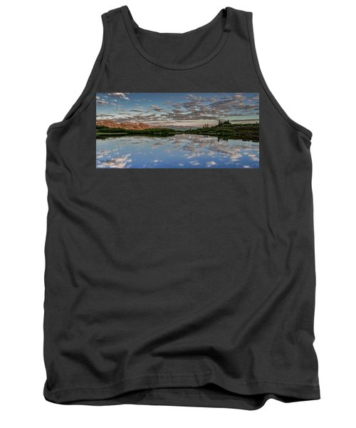 Tank Top featuring the photograph Reflection In A Mountain Pond by Don Schwartz