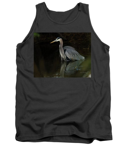 Reflection Of A Heron Tank Top by George Randy Bass