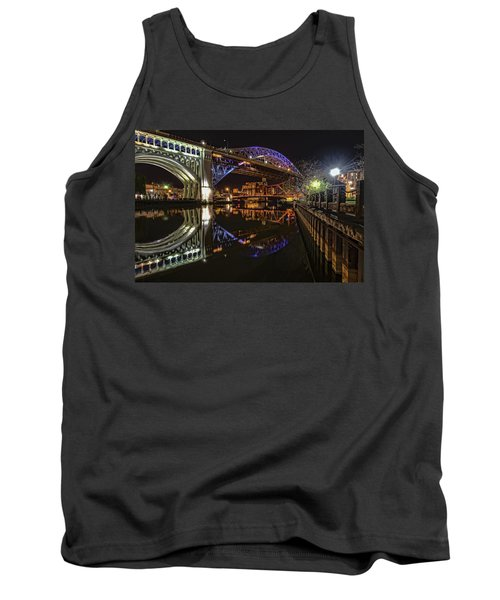 Tank Top featuring the photograph Reflections Of Veterans Memorial Bridge  by Brent Durken