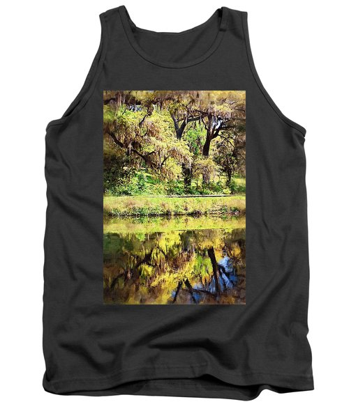 Tank Top featuring the photograph Reflective Live Oaks by Donna Bentley