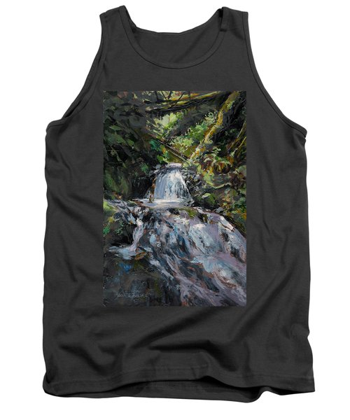 Tank Top featuring the painting Refreshed - Rainforest Waterfall Impressionistic Painting by Karen Whitworth