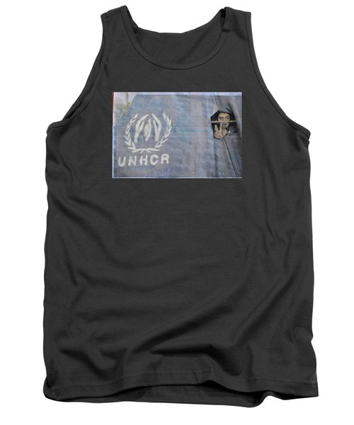 Tank Top featuring the painting Refugees Syria by Vikram Singh