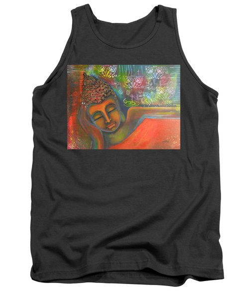 Buddha Resting Against A Colorful Backdrop Tank Top by Prerna Poojara