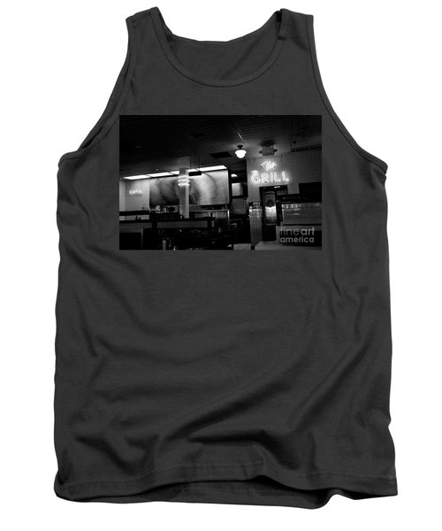 Retro Diner In Athens, Georgia -black And White Tank Top