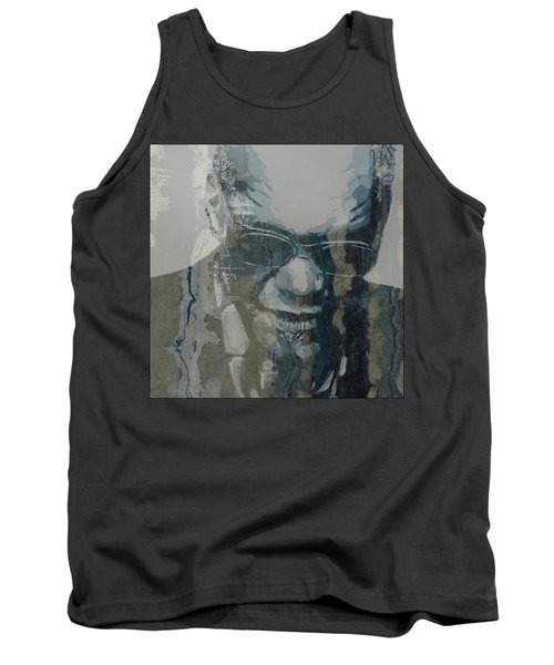 Tank Top featuring the mixed media Retro / Ray Charles  by Paul Lovering