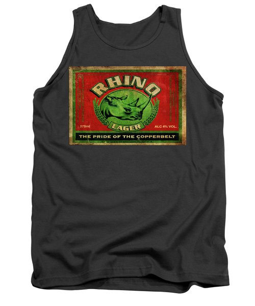Tank Top featuring the digital art Rhino Lager by Greg Sharpe