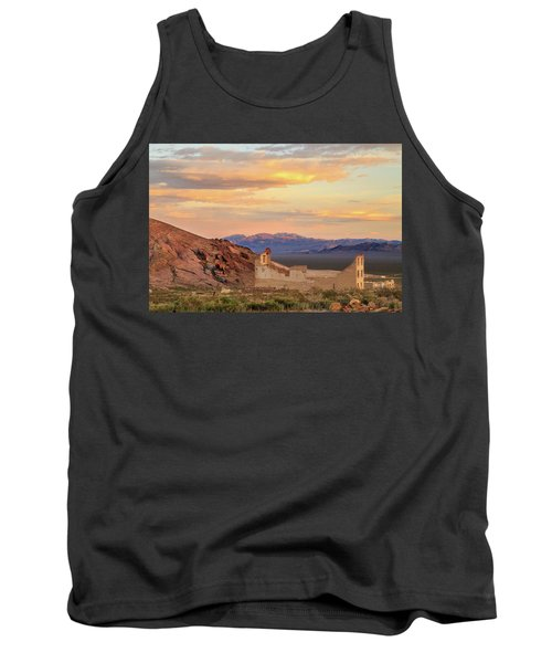Tank Top featuring the photograph Rhyolite Bank At Sunset by James Eddy