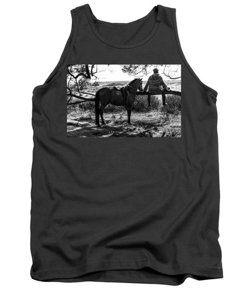 Rider And Horse Taking Break Tank Top