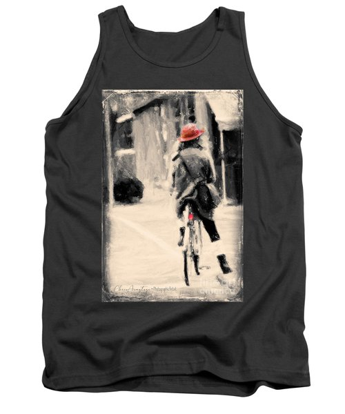 Riding My Bicycle In A Red Hat Tank Top