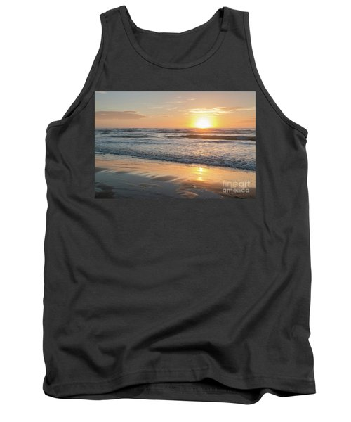Rising Sun Reflecting On Wet Sand With Calm Ocean Waves In The B Tank Top