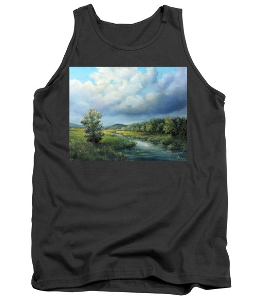 River Landscape Spring After The Rain Tank Top