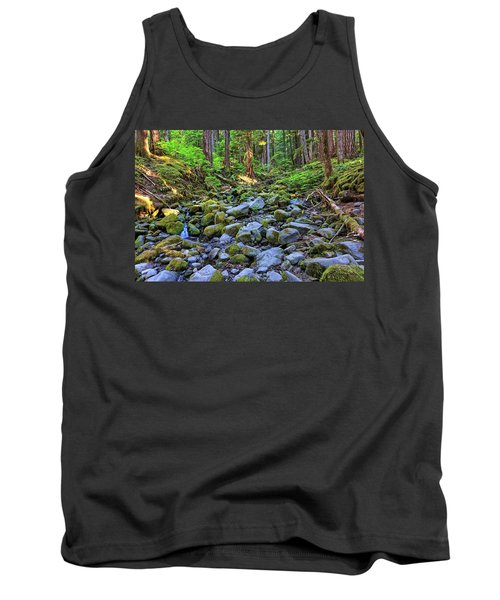 Riverbed Full Of Mossy Stones With Small Cascade Tank Top