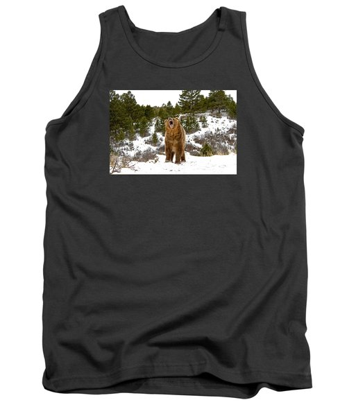 Roaring Grizzly In Winter Tank Top