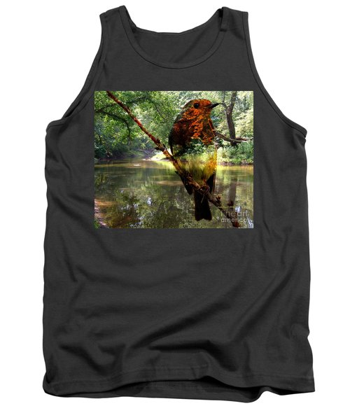 Tank Top featuring the photograph Robin By The River by Annie Zeno